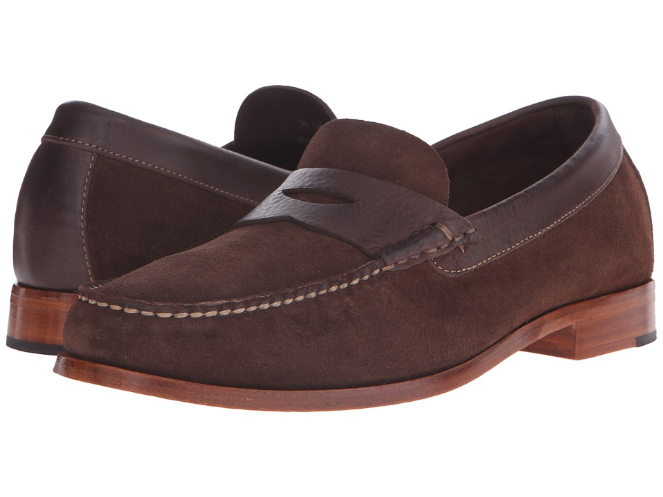 Johnston amp Murphy - Danbury Penny Brown Water-Resistant Full Grain Suede Mens Slip-on Dress Shoes $165.00 AT vintagedancer.com