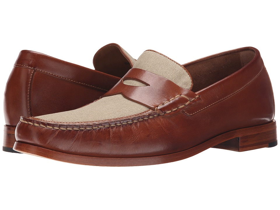 Johnston amp Murphy - Danbury Linen Penny Tan CalfskinDark Natural Linen Mens Slip on  Shoes $165.00 AT vintagedancer.com