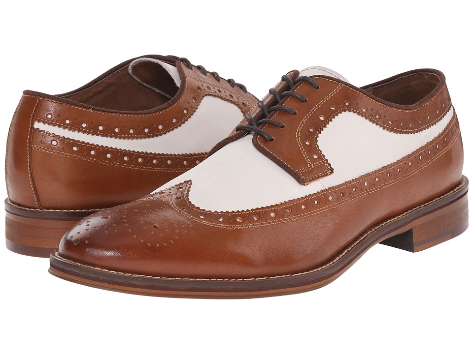 Johnston amp Murphy - Conard Wingtip Tan Italian CalfskinWhite Nubuck Mens Lace Up Wing Tip Shoes $155.00 AT vintagedancer.com