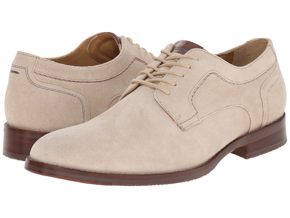 Johnston amp Murphy - Garner Plain Toe Ivory Water-Resistant Suede Mens Lace up casual Shoes $155.00 AT vintagedancer.com