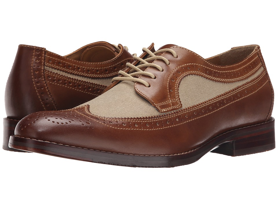 Johnston amp Murphy - Garner Wingtip Tan CalfskinDark Natural Linen Mens Lace Up Wing Tip Shoes $155.00 AT vintagedancer.com