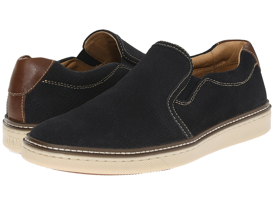 Johnston amp Murphy McGuffey Perfed Slip On Navy Water Resistant Suede Mens Slip on Shoes