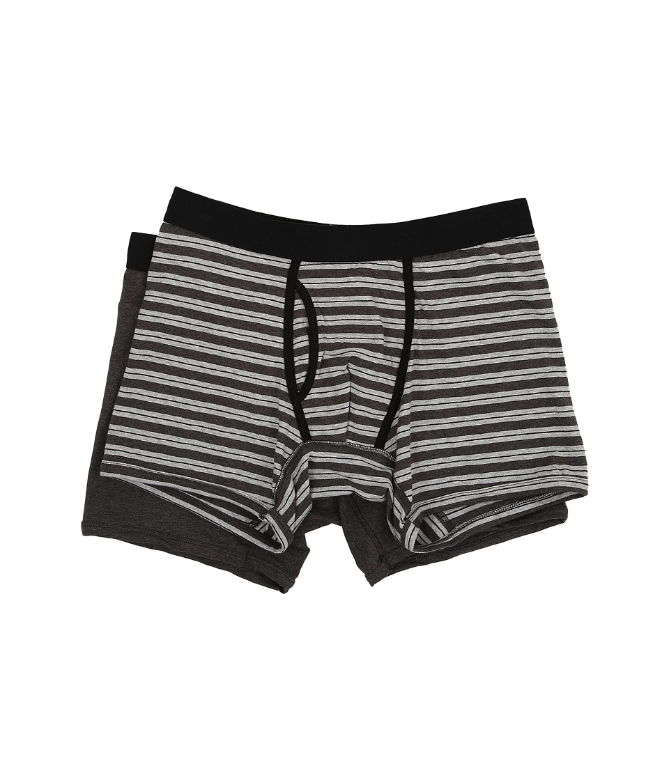 PACT - Everyday Charcoal Heather/Grey Stripe Boxer Brief 2