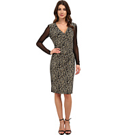 Anne Klein - Printed Jersey V-Neck Side Drape with Hardware