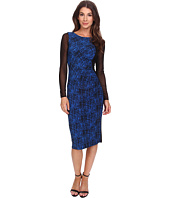 Anne Klein - Printed Jersey Long Sleeve Rouched Dress