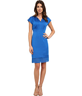 Anne Klein - Crepe V-Neck Pleat Neck Combo Dress
