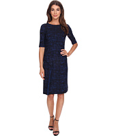 Anne Klein - Jacquard Elbow Sleeve Sheath Dress with Asymetrical Ruffle