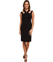 Anne Klein - Embellished Double Weave Crepe with Cut Away Neck