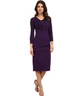 Anne Klein - Jersey & Milano Twist Front Combo Sheath Dress