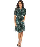 Anne Klein - Printed Chiffon Shirtdress