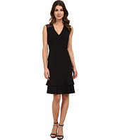 Anne Klein - Crepe/Mesh Combo Double Flounce Dress