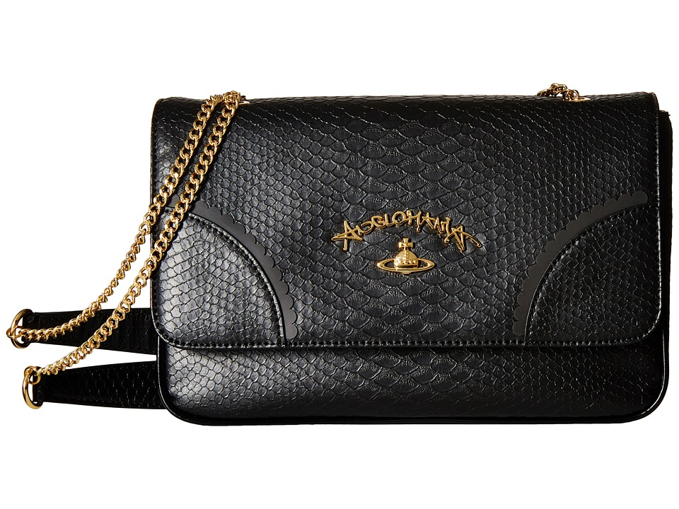 Vivienne Westwood - Braccialini Frilly Snake Bags Flap (Black) Cross Body Handbags