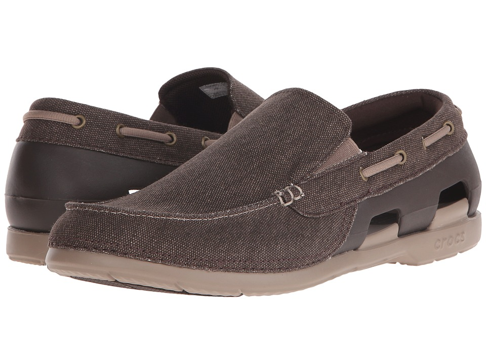 Crocs Beach Line Canvas Slip On Espresso/Mushroom Mens Slip on Shoes