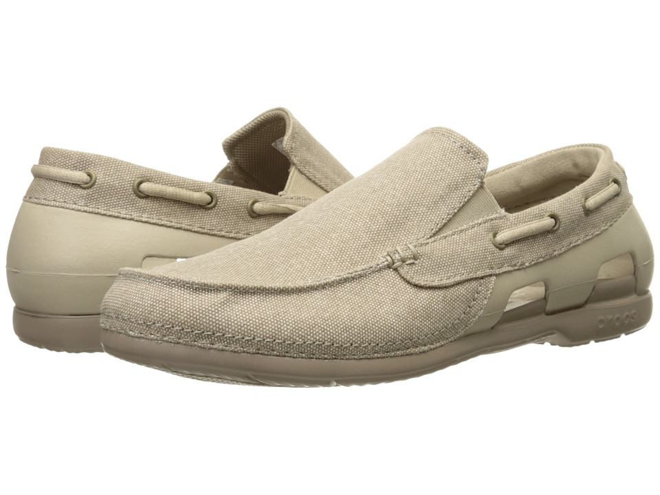 Crocs Beach Line Canvas Slip On Cobblestone/Tumbleweed Mens Slip on Shoes