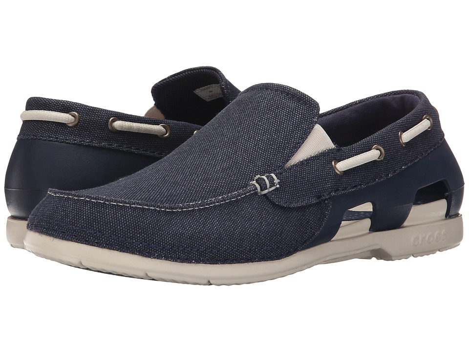 Crocs Beach Line Canvas Slip On Navy/Stucco Mens Slip on Shoes