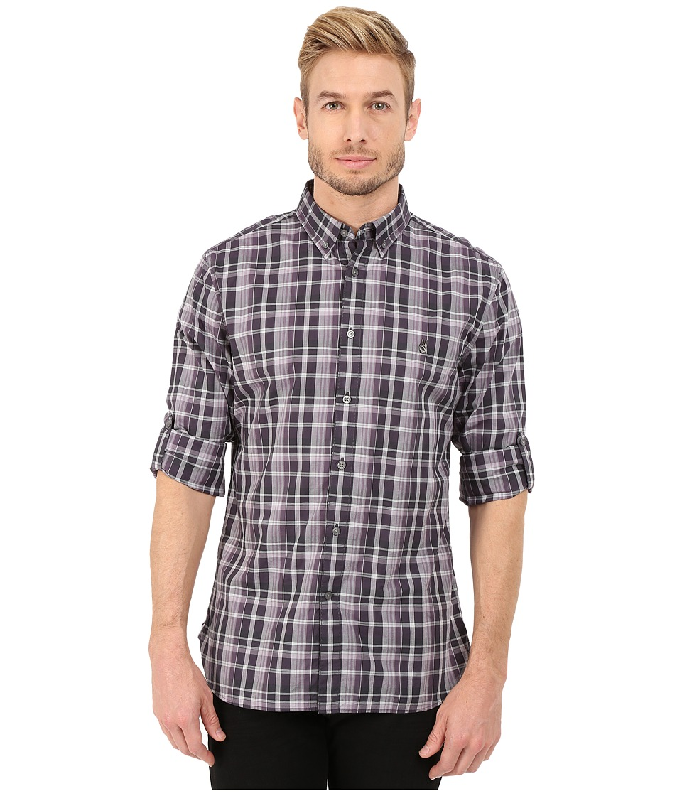 John varvatos star u s a slim fit plaid button down for Button up collared sport shirts