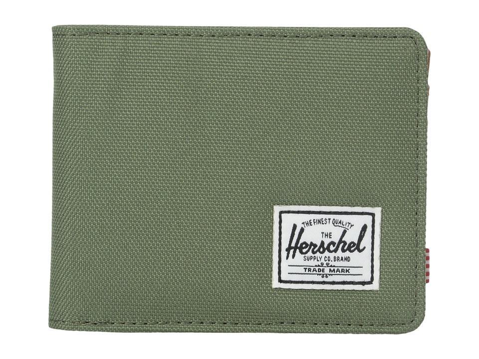 Herschel Supply Co. - Hank (Deep Litchen Green/Tan Pebbled Synthetic Leather) Wallet Handbags