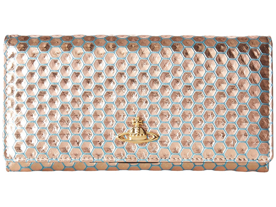 Vivienne Westwood - Braccialini Honey Comb Long Wallet with Chain (Azzurro) Wallet Handbags