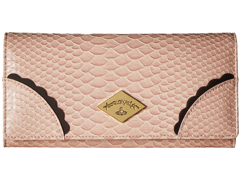 Vivienne Westwood - Braccialini Frilly Snake Long Wallet (Pink) Wallet Handbags