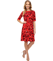 Anne Klein - Printed Twill Elbow Sleeve Fit and Flare Dress