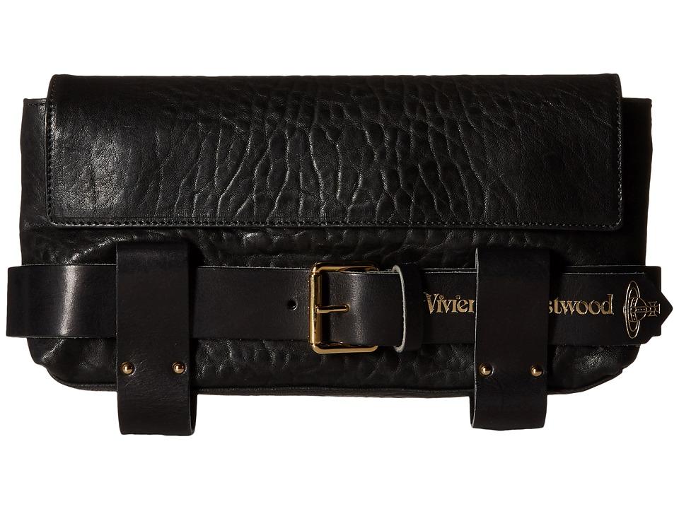 Vivienne Westwood - Braccialini Bondage Flap Clutch (Black) Clutch Handbags