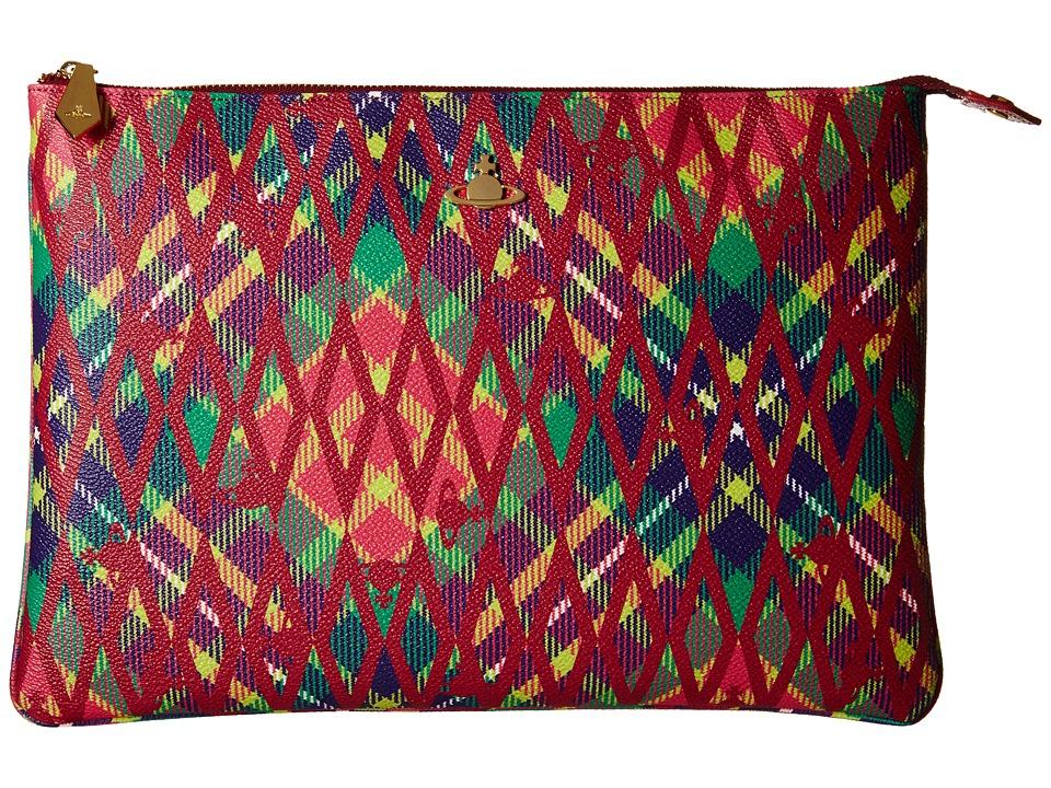 Vivienne Westwood - Braccialini Diamond Tartan Pouch (Amaranto) Briefcase Bags