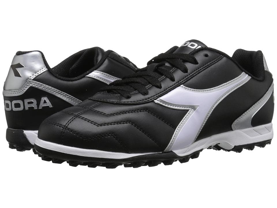 Diadora - Capitano TF (Black/White/Silver) Soccer Shoes