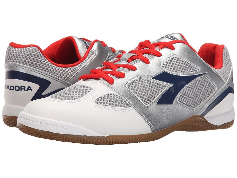 Diadora Quinto V ID Silver/Estate Blue Soccer Shoes