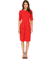 Anne Klein - Twill Elbow Sleeve Sheath Dress with Asymetrical Ruffle
