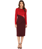 Anne Klein - Milano Color Block Long Sleeve Side Drape Sheath Dress