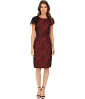 Anne Klein - Animal Jacquard Sheath with Organza Sleeve Detail Dress