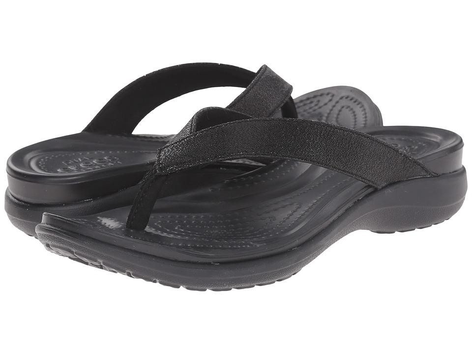 Crocs - Capri V Shimmer Flip (Black) Women