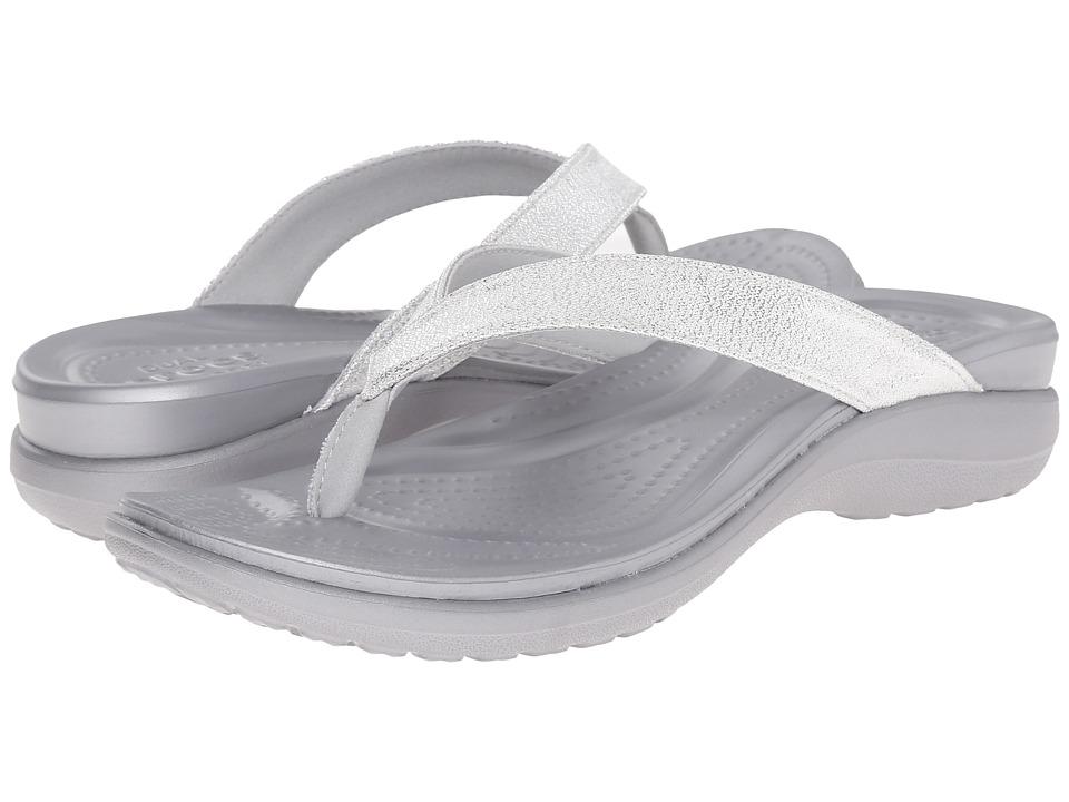 Crocs - Capri V Shimmer Flip (Silver) Women