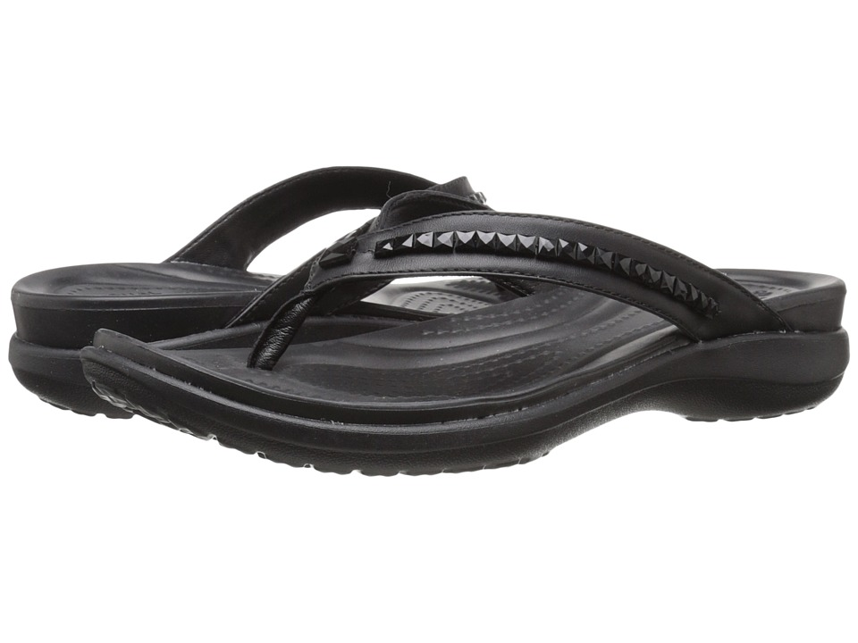 Crocs - Capri V Beaded Flip (Black) Women
