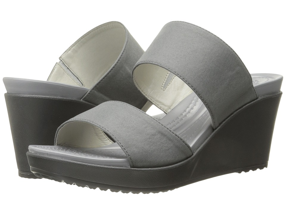 Crocs Leigh II 2 Strap Wedge Silver/Graphite Womens Wedge Shoes