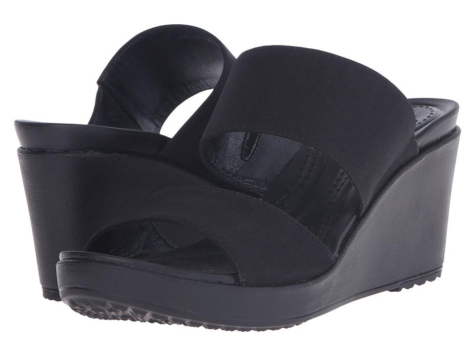 Crocs Leigh II 2 Strap Wedge Black/Black Womens Wedge Shoes