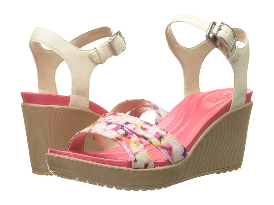 Crocs Leigh II Ankle Strap Graphic Wedge Stucco/Gold Womens Wedge Shoes