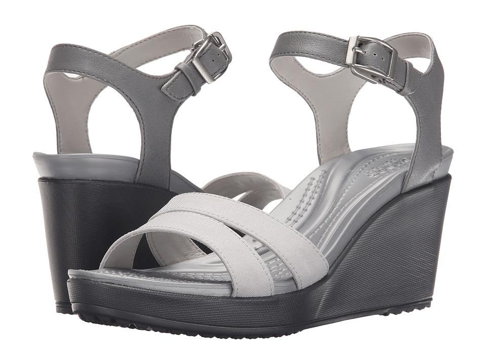 Crocs Leigh II Ankle Strap Wedge Smoke/Charcoal Womens Wedge Shoes