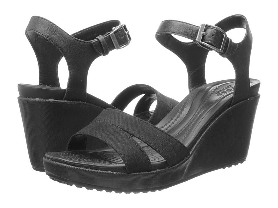 Crocs Leigh II Ankle Strap Wedge Black/Black Womens Wedge Shoes