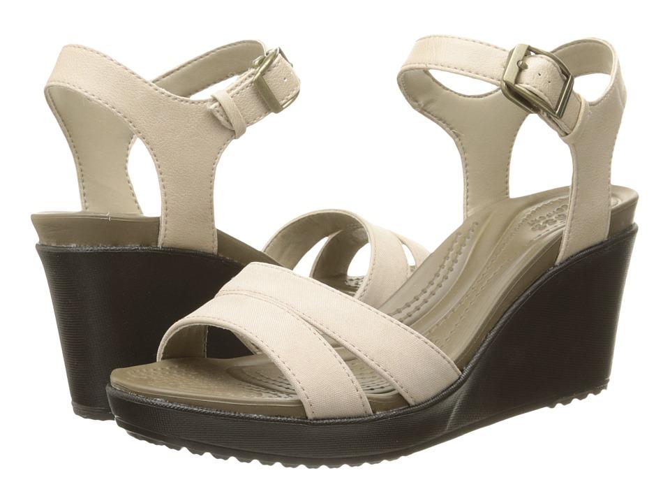 Crocs Leigh II Ankle Strap Wedge Tumbleweed/Espresso Womens Wedge Shoes