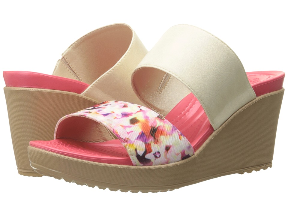 Crocs Leigh II 2 Strap Graphic Wedge Stucco/Gold Womens Wedge Shoes