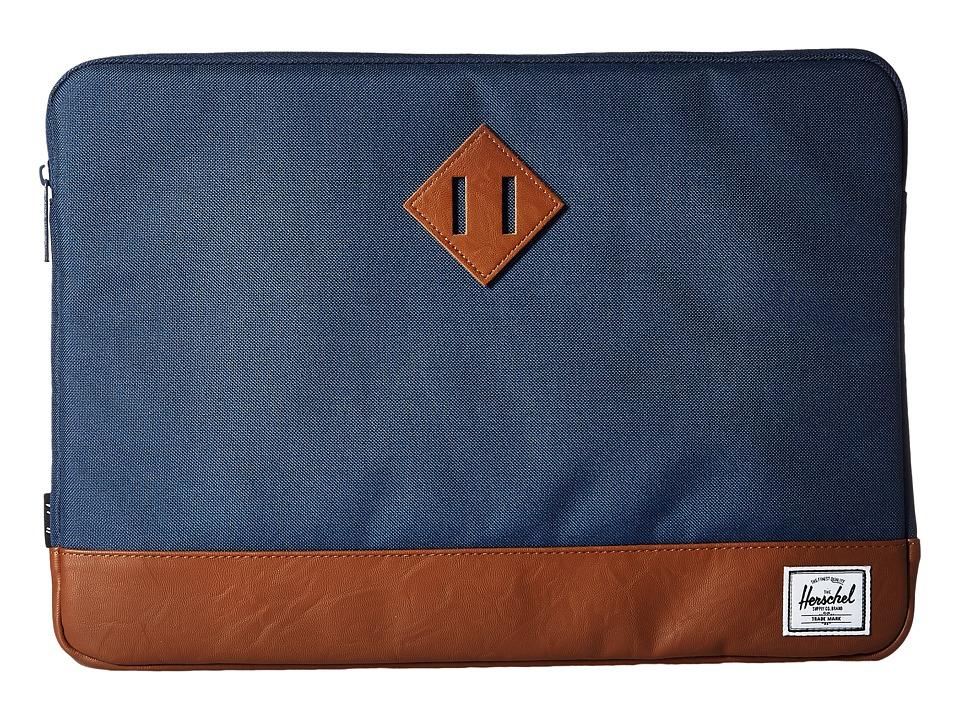 Herschel Supply Co. - Heritage Sleeve for 15inch Macbook (Navy/Tan) Computer Bags