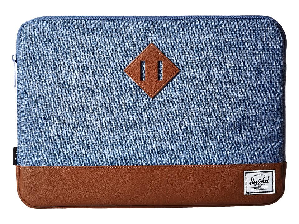 Herschel Supply Co. - Heritage Sleeve for 13inch Macbook (Limoges Crosshatch/Tan) Computer Bags