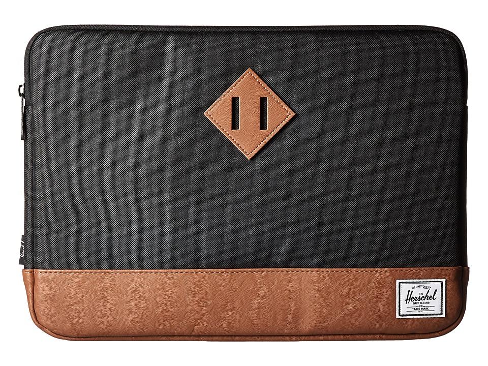 Herschel Supply Co. - Heritage Sleeve for 13inch Macbook (Black/Tan) Computer Bags