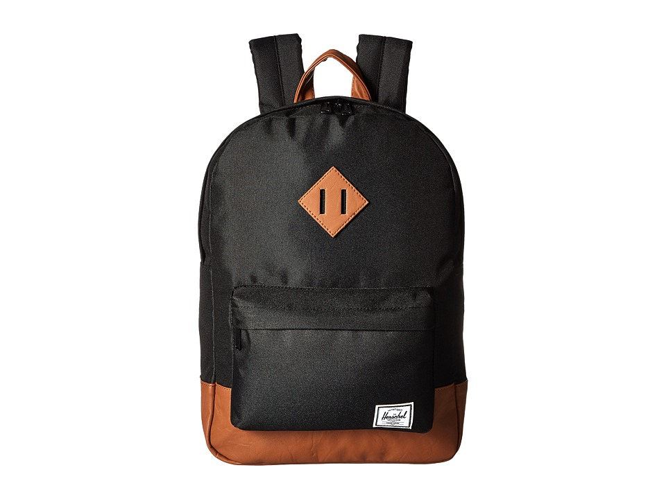 Herschel Supply Co. Heritage Youth Black/Tan Synthetic Leather Backpack Bags