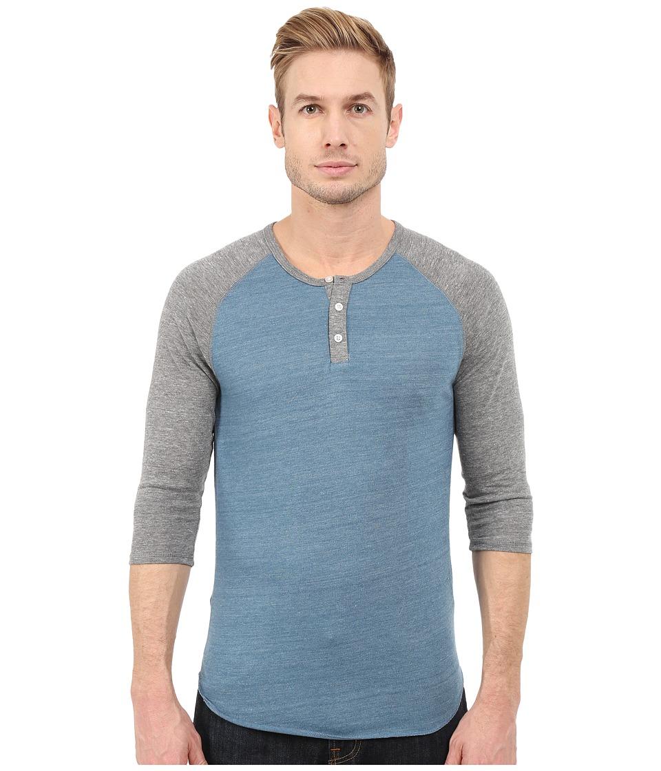 Alternative Raglan Henley Eco True Blue Ash Mens Clothing