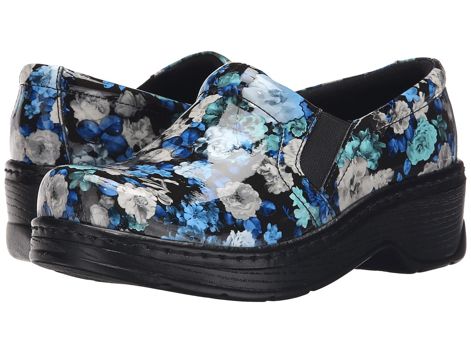 Klogs Footwear Naples Blue Flower Patent Womens Clog Shoes
