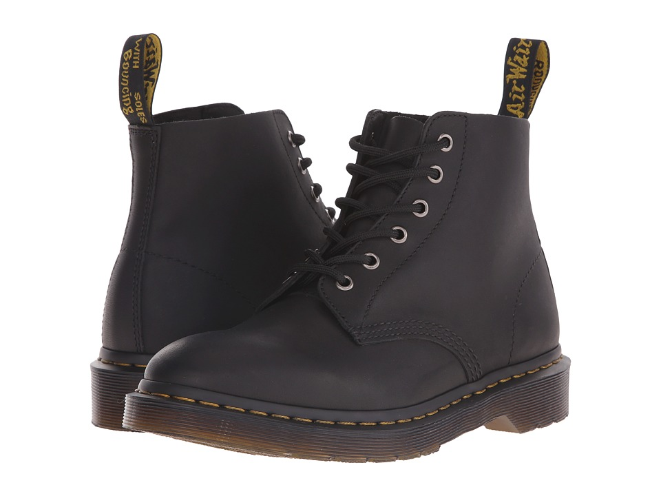 Dr. Martens Ali 6 Eye Boot Black Greasy Lace up Boots