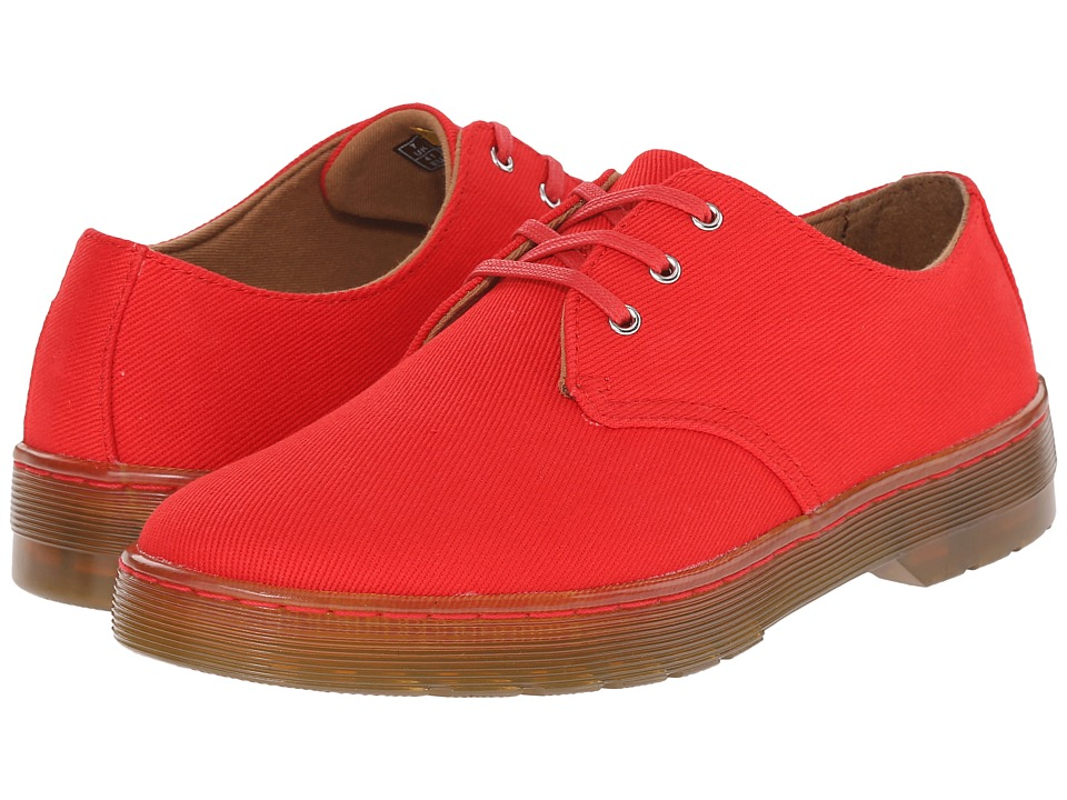 Dr. Martens Gizelle 3 Eye Shoe Red Overdyed Twill Canvas Womens Lace up casual Shoes