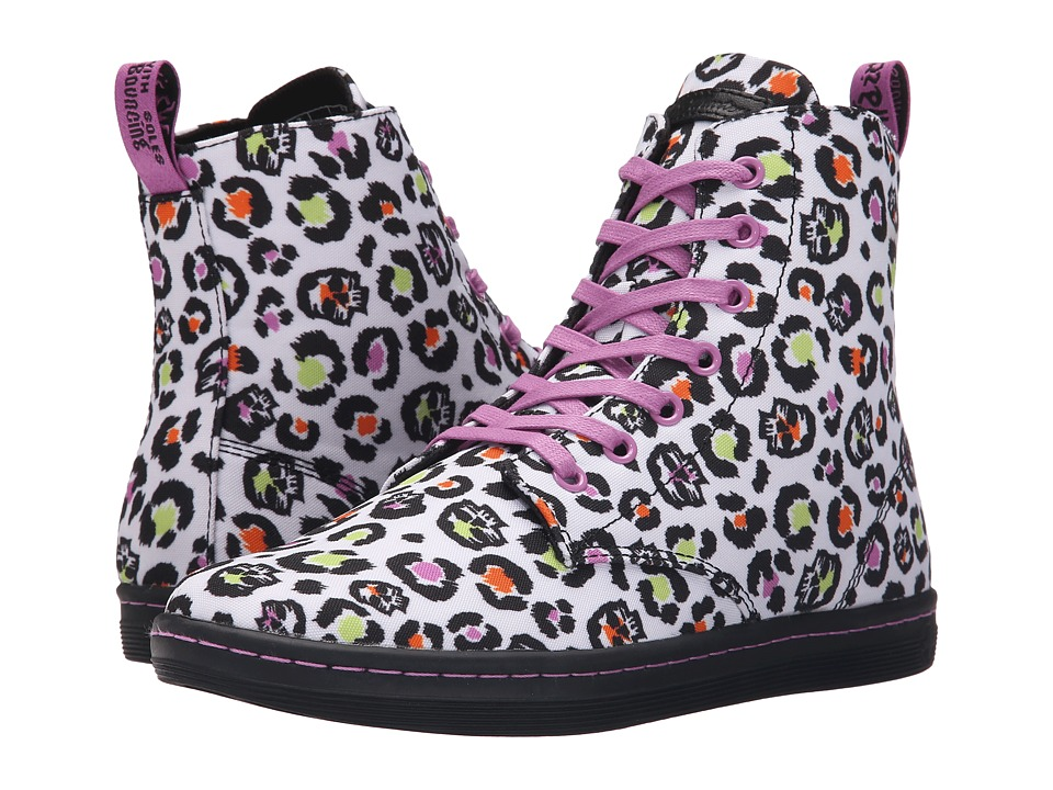 Dr. Martens Hackney 7 Eye Boot White Skleopard Twill Canvas Womens Lace up Boots